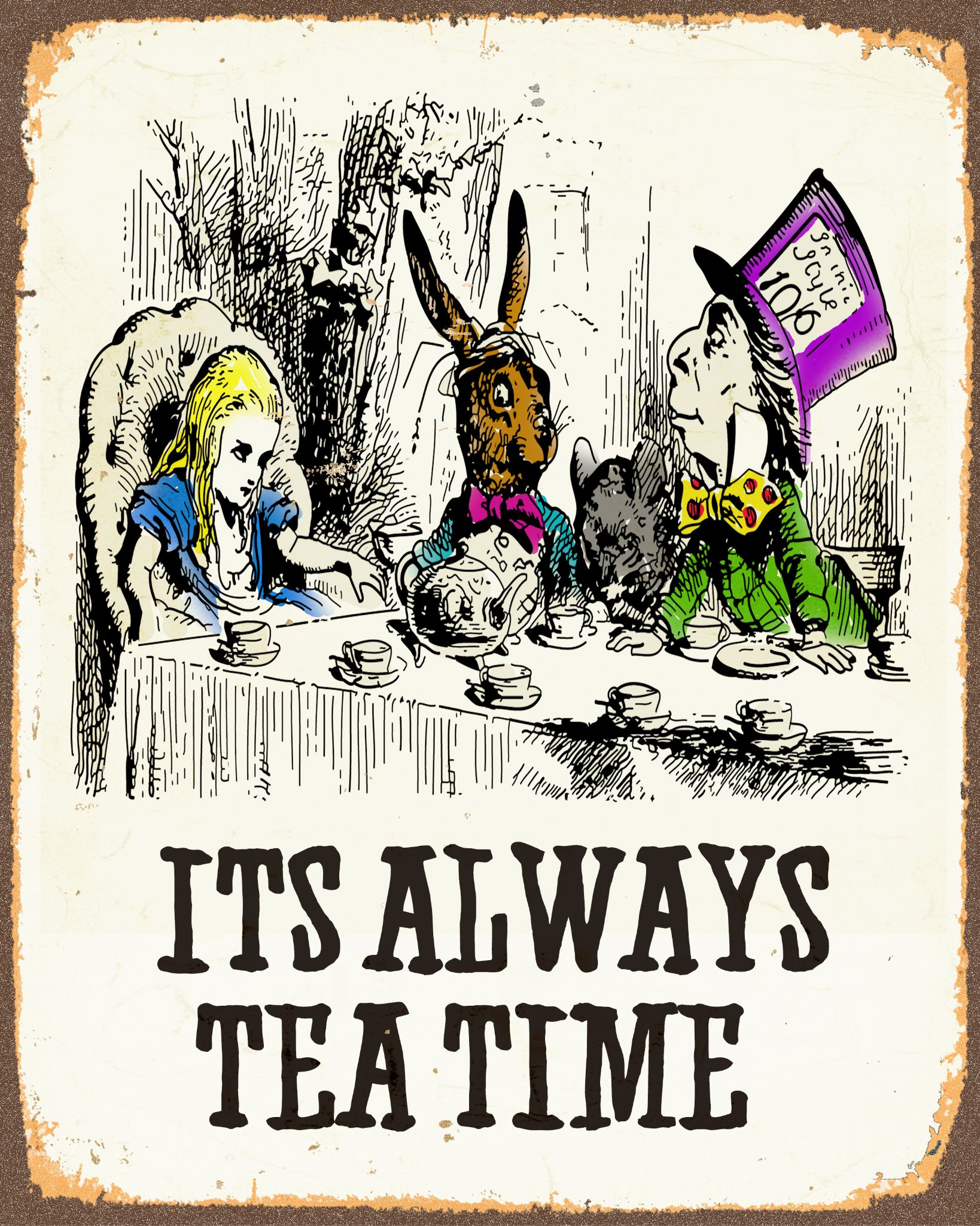 alice-in-wonderland-it-s-always-tea-time-metal-advertising-wall-sign-retro-art-3052-p