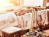 authentic-paint-brushes-still-life-table-art-class-school-as-drawing-course-group-brush-clay-jar-quiet-environment-111899284