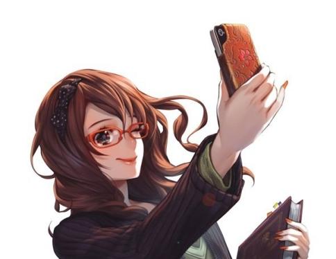stylish-girl-taking-selfie-with-her-new-orange-eye-frame