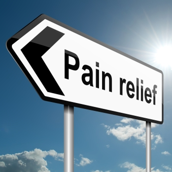 Illustration depicting a road traffic sign with a pain relief concept. Blue sky background.