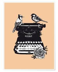 Birds on typewriter machine vintage art print Posters and Prints ...