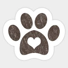 Dog Paw Print, Dog Heart Vintage Style - Dog Paw Print - Sticker ...